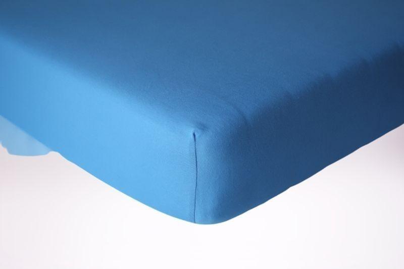 Prześcieradło jersey z gumką 200x200 kolor niebieski
